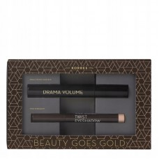 KORRES DRAMA VOLUME MASCARA BLACK + TWIST EYESHADOW GOLDEN PINK