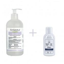 ANTISEPTUS HAND SANITIZER 500ml + INTIMATE AREA CLEANSER FOR MEN