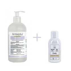 ANTISEPTUS HAND SANITIZER 500ml + INTIMATE AREA CLEANSER DAILY